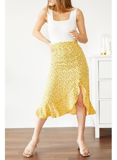 XHAN Sarı Fırfırlı Desenli Etek 0Yxk7-43729-10 Sarı